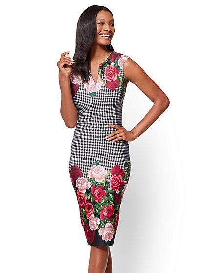 Sleeveless Sheath Dress - Houndstooth Print - Tall  - New York & Company