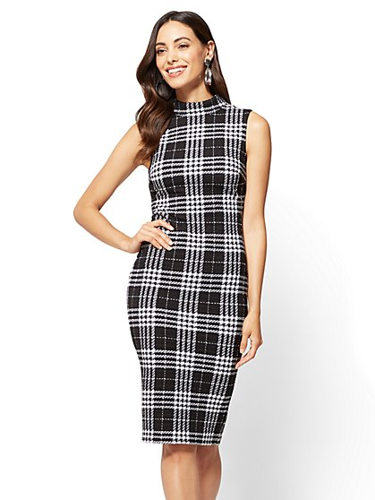 Sleeveless Sheath Dress - Plaid  - New York & Company