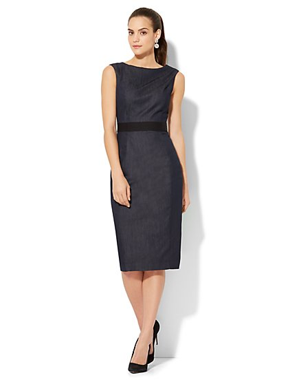 Sleeveless Shift Dress - Hidden Blue - New York & Company