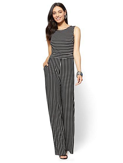 Sleeveless Tie-Back Jumpsuit - Stripe - New York & Company