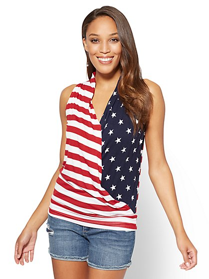 Sleeveless Wrap Top - Stars & Stripes - New York & Company
