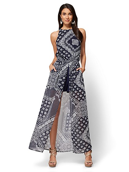 Slit-Detail Maxi Dress - Bandana Print - New York & Company