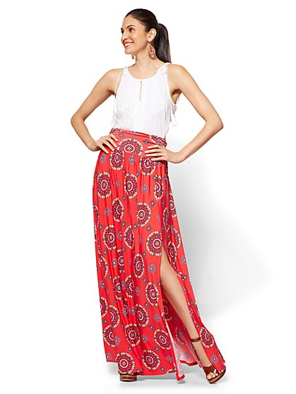 Slit-Front Maxi Skirt - Print - New York & Company