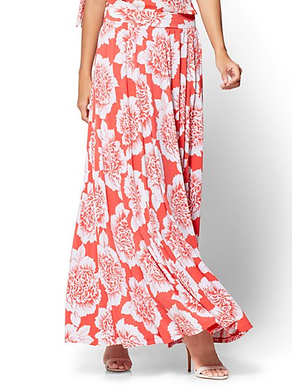 Slit-Front Maxi Skirt - Red Floral - New York & Company
