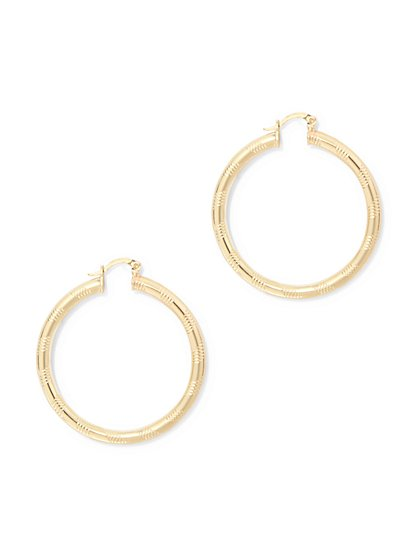 Small Textured Hoop Earring  - New York & Company