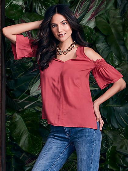 Smocked Cold-Shoulder Blouse - New York & Company