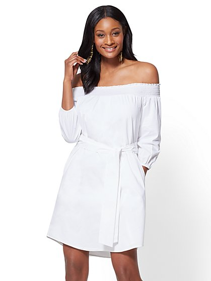 Smocked Off-The-Shoulder Poplin Dress - New York & Company