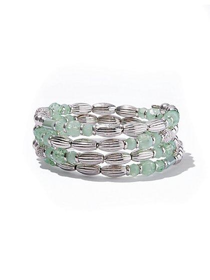 Soft Mint Beaded Coil Bracelet - New York & Company