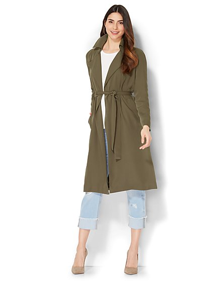 Soft Trench Coat - Olive - New York & Company