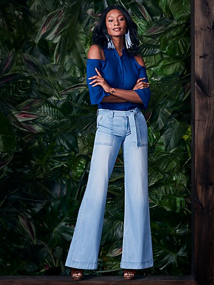 Soho Jeans - Belted Wide Leg - Blue Rain Wash - New York & Company