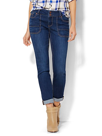 Soho Jeans - Boyfriend - Cargo Pocket - Polished Blue Wash  - New York & Company