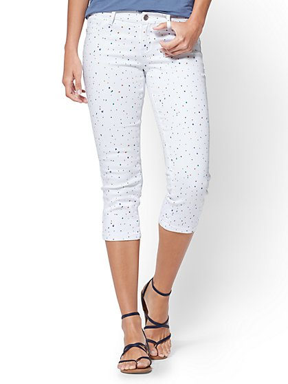 Soho Jeans - Crop Legging - White - Confetti Print - New York & Company