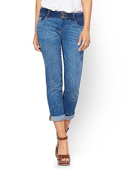Soho Jeans - Cropped Boyfriend - Indigo Blue Wash - New York & Company