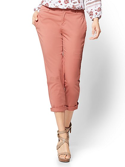 Soho Jeans Cropped Chino Boyfriend - New York & Company