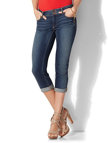 Soho Jeans - Curvy Cropped Boyfriend - Pure Ink Blue Wash - New York & Company