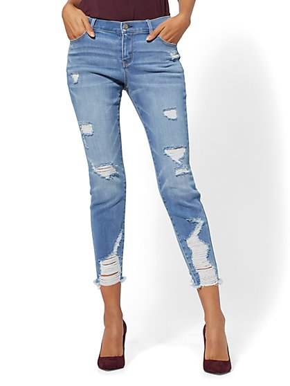 Soho Jeans - Destroyed Ankle Legging - Blue Wash - New York & Company