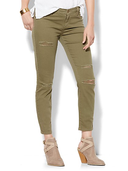 Soho Jeans Destroyed Ankle SuperStretch Legging - Union Square Green  - New York & Company