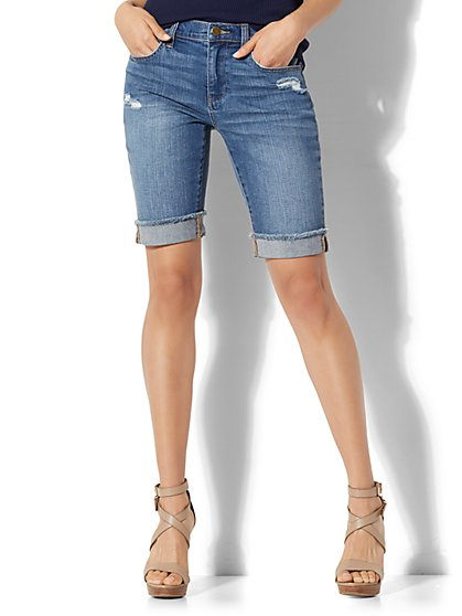 Soho Jeans - Destroyed Boyfriend Bermuda Short - Goldstone Blue Wash - New York & Company