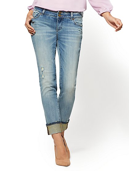 Soho Jeans - Destroyed Boyfriend - Glitter Cuff - Faint Blue Wash - New York & Company