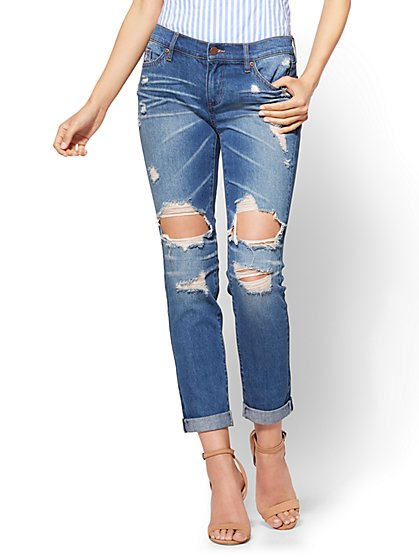 Soho Jeans - Destroyed Boyfriend - Indigo Blue Wash - New York & Company