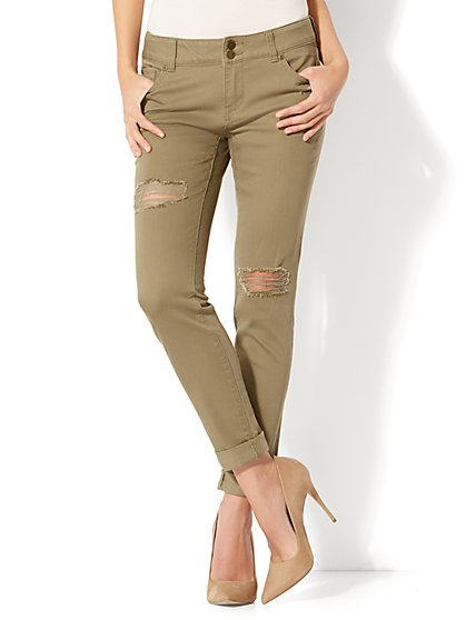 Soho Jeans - Destroyed Boyfriend - Olive - New York & Company