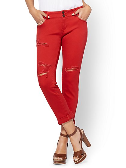 Soho Jeans - Destroyed Cropped Boyfriend - Berry Red - New York & Company