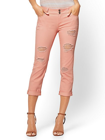 Soho Jeans - Destroyed Cropped Boyfriend - Coral Cream - New York & Company