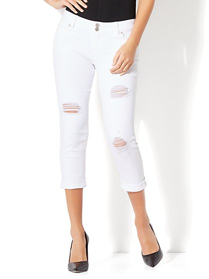 Soho Jeans - Destroyed Cropped Boyfriend - Optic White - New York & Company
