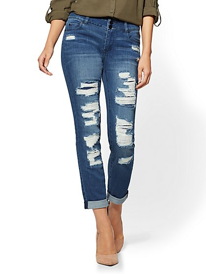 Soho Jeans - Destroyed Curvy Boyfriend - Cascade Blue Wash - New York & Company