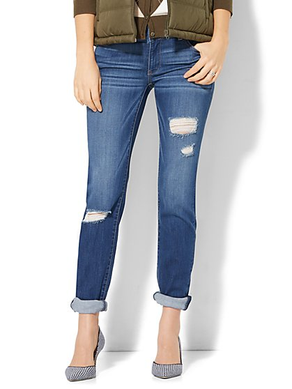 Soho Jeans - Destroyed Curvy Boyfriend - Force Blue Wash - New York & Company