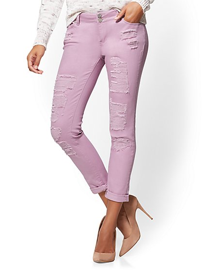 Soho Jeans - Destroyed Curvy Boyfriend - Lavender - New York & Company