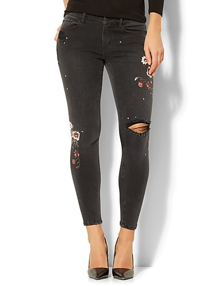 Soho Jeans - Destroyed Floral Screen-Print Ankle Legging - Black - New York & Company
