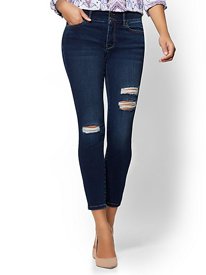 Soho Jeans - Destroyed High-Waist Curvy Ankle Legging - Flawless Blue Wash - New York & Company