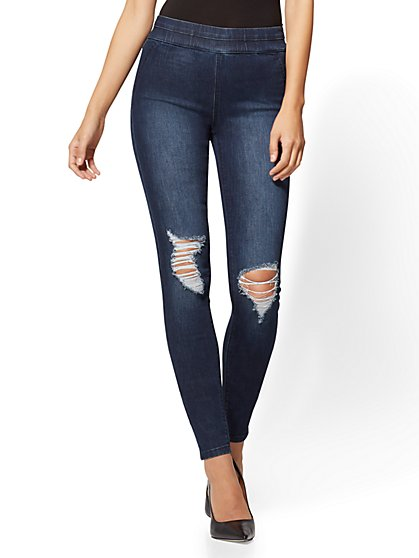 Soho Jeans - Destroyed High-Waist Pull-On Ankle Legging - Indigo Blue Wash - New York & Company