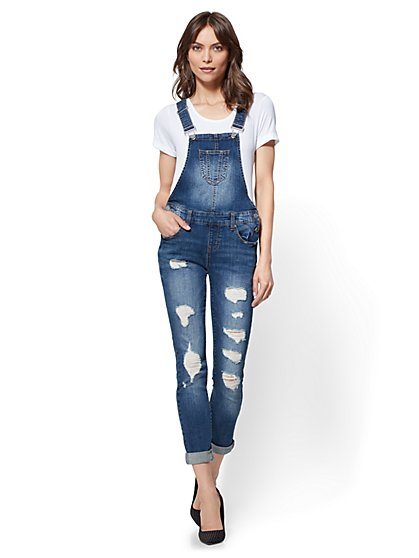 Soho Jeans - Destroyed Overalls - Dark Wash - New York & Company