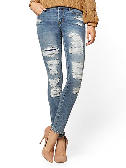 Soho Jeans - Destroyed Skinny - Dusty Blue Wash - New York & Company