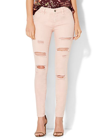 Soho Jeans - Destroyed Superstretch Legging - Soft Rose  - New York & Company