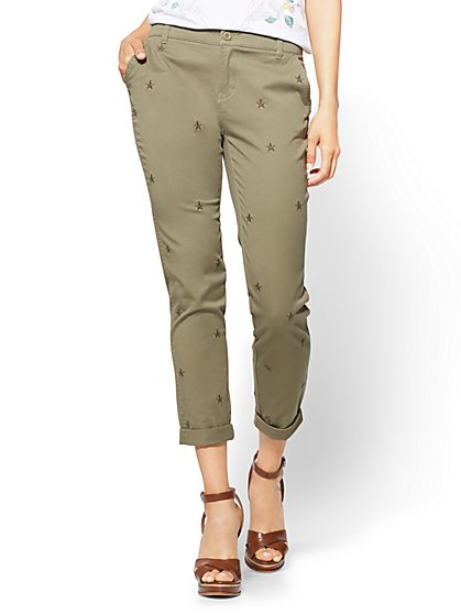 Soho Jeans - Embroidered Chino Boyfriend - Olive - New York & Company