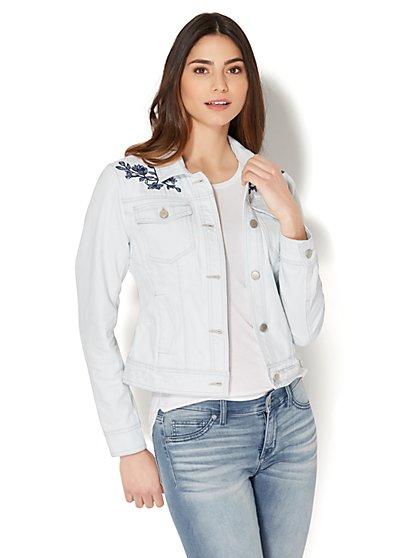 Soho Jeans - Embroidered Denim Jacket - Light Blue Acid Wash - New York & Company