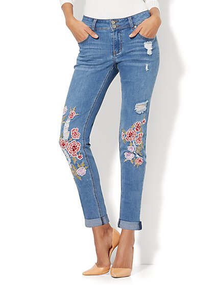 Soho Jeans - Embroidered & Destroyed Boyfriend - Medium Blue Wash - New York & Company