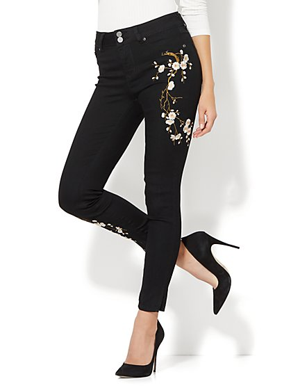 Soho Jeans - Embroidered High-Waist Ankle Legging - Black - New York & Company