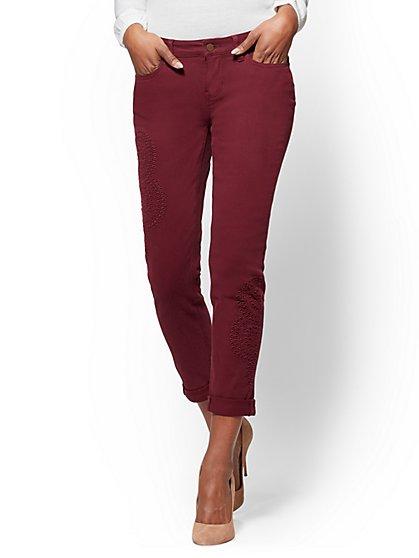 Soho Jeans - Eyelet Boyfriend - Burgundy - New York & Company