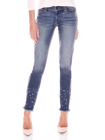 Soho Jeans - Faux-Pearl Accent Crop Boyfriend - Force Blue Wash - New York & Company