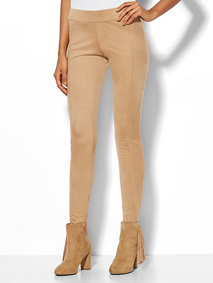 Soho Jeans - Faux-Suede Pull-On Legging - Camel - New York & Company
