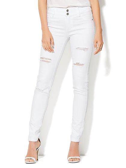 Soho Jeans -  High-Waist Destroyed SuperStretch Legging - Optic White  - New York & Company