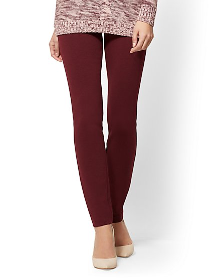 Soho Jeans - High-Waist Legging - Ponte - Burgundy  - New York & Company