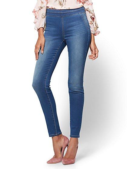 Soho Jeans - High-Waist Pull-On Legging - Laguna Blue Wash - Tall - New York & Company
