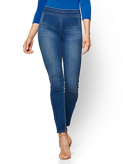 Soho Jeans - High-Waist Pull-On Legging - Laguna Blue Wash - New York & Company