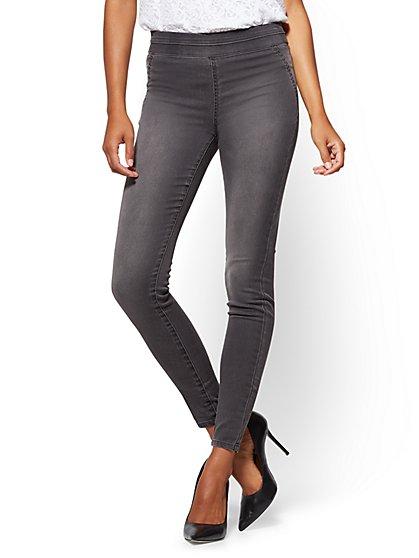Soho Jeans - High-Waist Pull-On Legging - Medium Heather Grey - Tall - New York & Company