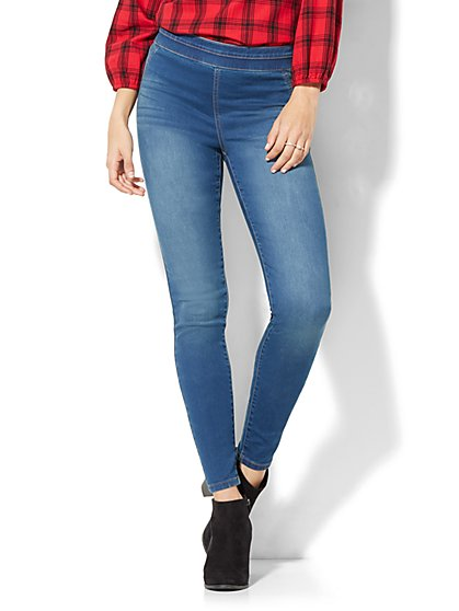 Soho Jeans - High-Waist Pull-On Legging - Polished Blue Wash - New York & Company